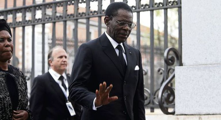 Equatorial Guinea President Teodoro Obiang at the funeral of former Spanish prime minister Adolfo Suárez in Madrid, in March 2014.