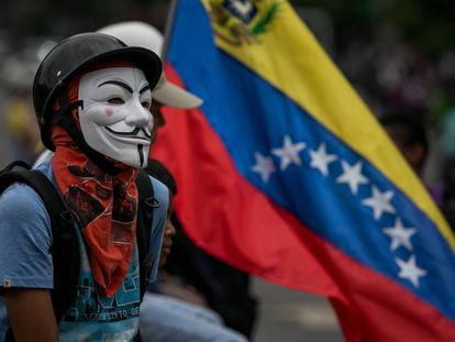 An anti-government protest in Caracas, Venezuela.