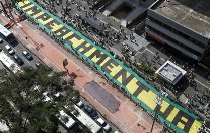 Thousands turn up on Sunday for an anti-government protest in São Paulo.