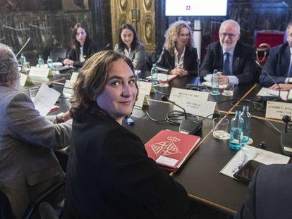 Barcelona Mayor Ada Colau at a local security meeting.