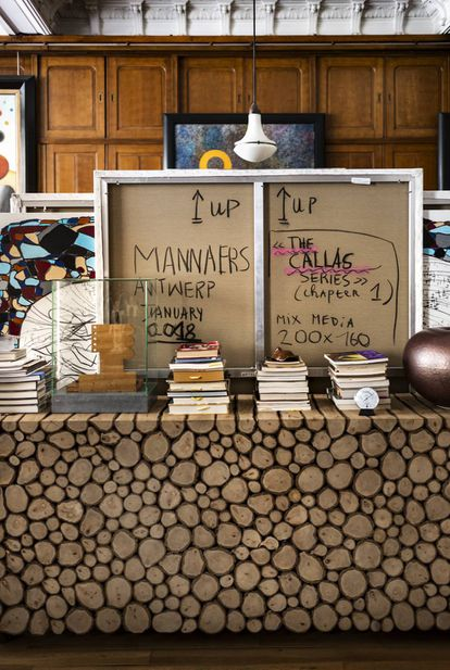 Works of art and designer furniture fill Polo's home in Brussels.