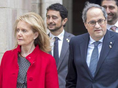 Catalan cultural department chief Mariàngela Vilallonga and Catalan premier Quim Torra.