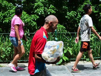 Venezuelans walking to a food distribution center in Caracas.