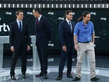 From l-r: Pablo Casado, Pedro Sánchez, Albert Rivera and Pablo Iglesias before the debate.