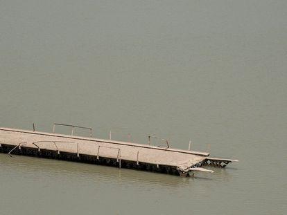 A bridge submerged in the Entrepeñas reservoir in the Castilla–La Mancha region.