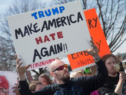 A demonstrator at a march in Wisconsin.