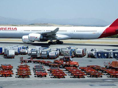 An Iberia plane in Madrid.