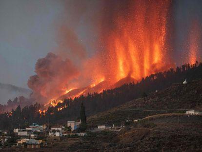 The volcanic eruption in La Palma on Sunday.