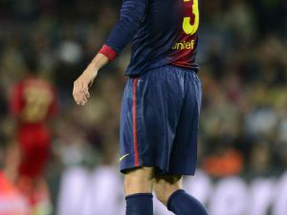 Barcelona's defender Gerard Pique reacts during the match.