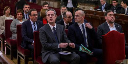 Catalan secessionist leaders at their trial in October 2019.