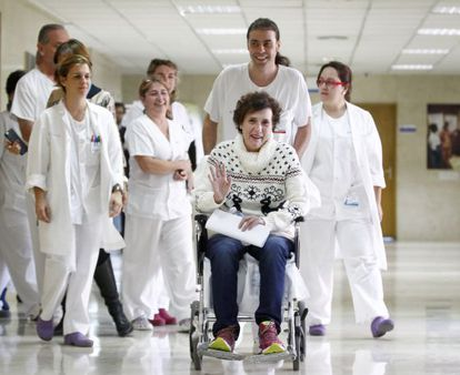 Nursing assistant Teresa Romero on the day she was discharged from hospital, on November 5.