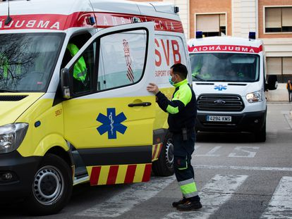 An ambulance outside a hospital in Valencia, where the first coronavirus death was reported.