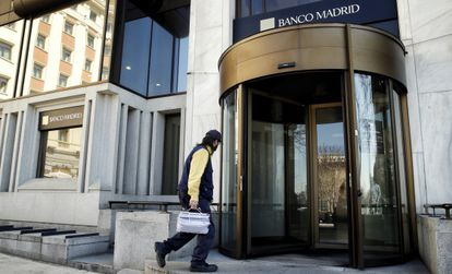 The headquarters of Banco Madrid appeared calm on Wednesday.