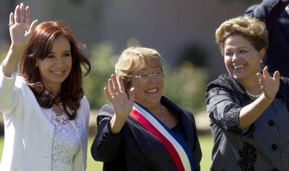 Cristina Fernández, Michelle Bachelet and Dilma Rousseff in July 2015, when they were presidents of Argentina, Chile and Brazil.