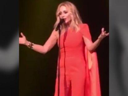 Marta Sánchez singing her version of the Spanish national anthem.