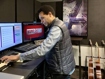 Anele Onyekwere in one of Marvel's recording studios.