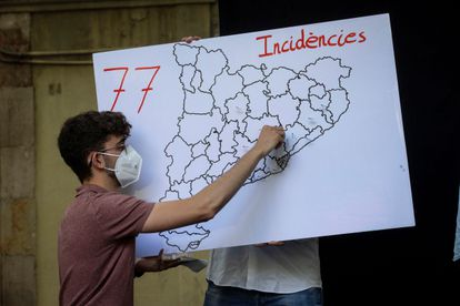 Map showing the number of homophobic assaults registered in Catalonia so far this year during a protest in Barcelona on June 5, 2021.