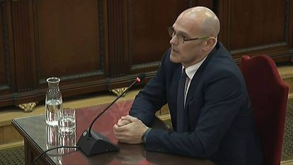 Raul Romeva speaking at the Supreme Court on Tuesday.