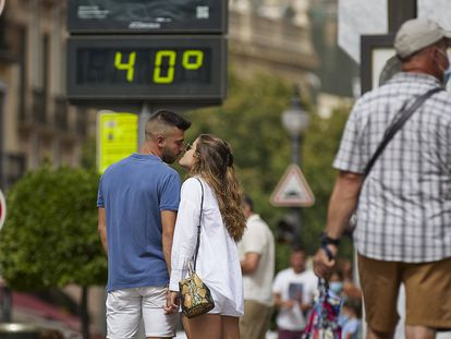 A thermometer marks 40ºC on Wednesday in Granada.