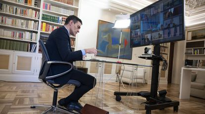 Spanish PM Pedro Sánchez participating in the EU summit on Thursday.