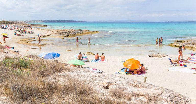 A beach in Formenta, a big tourist spot.