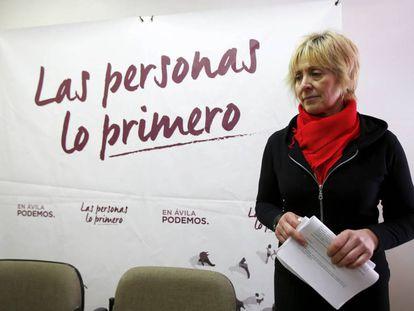 Pilar Baeza at a news conference in Ávila.