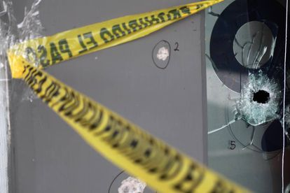 Bullet holes left after a gunman opened fire in a bar in Culiacán.