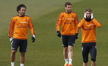 Marcelo, Nacho and Sergio Ramos during a Madrid training session.