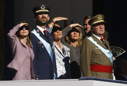 The royal family attends the traditional National Day military parade on October 12, 2009.