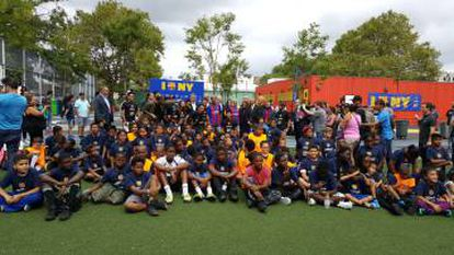 Students from Twin Parks Upper with Ronaldinho.