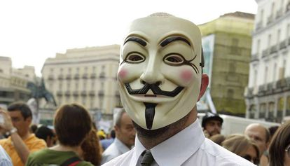 An Anonymous protester in Madrid.