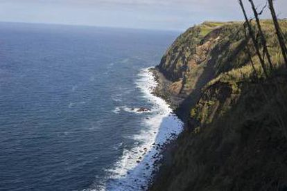The landscape in the north of Sao Miguel where the boat was hidden.