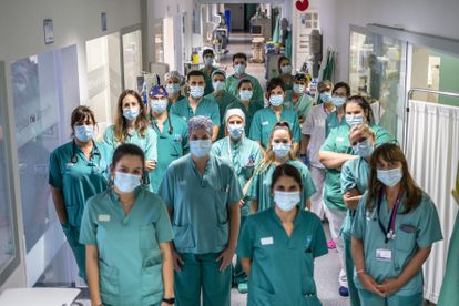 Workers at the intensive care unit of Torrejón de Ardoz Hospital in Madrid.