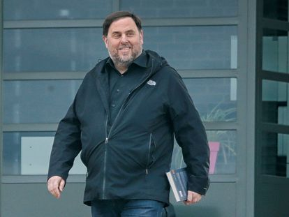Former Catalan deputy premier Oriol Junqueras leaves prison to teach at a university in March.