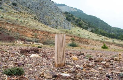 A plot of the Peñón del Colorado, where a marker rests on the ground where a third search will be conducted for García Lorca's remains.