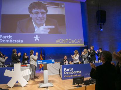 Puigdemont in a video conference.