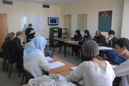 Moroccan students during a Spanish class at the Cervantes Institute in Rabat.