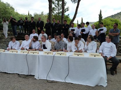 Chef Ferran Adrià, with his team at elBulli, talk to the press ahead of the restaurant's closure.