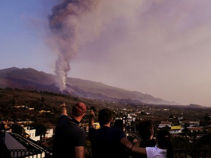 Lava flows from the new volcano on the Canary Island of La Palma.
