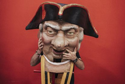 """""""Verrugas,"""" one of the famous """"big heads"""" at Sanfermines."""