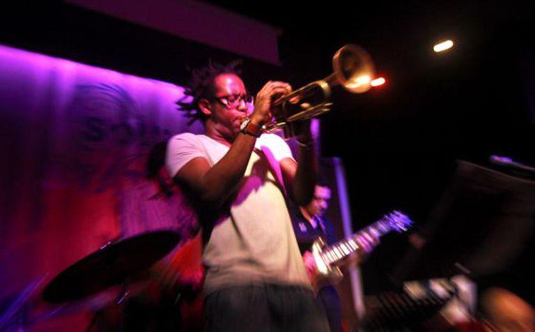 Cuban trumpet player Jorge Vistel during a jam session at Soul Station.