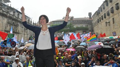 Ana Pontón, the leader of the Galician Nationalist Bloc, at a party rally ahead of the regional election.