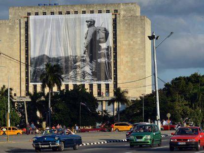 A photograph of Fidel Castro at Revolution Square.