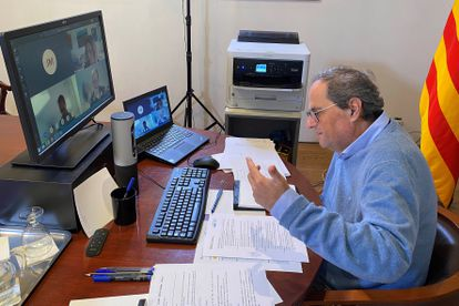 Catalan premier Quim Torra during a videoconference call on Friday.