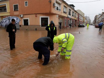 Flooding in Alzira, in Valencia province.
