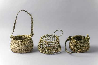 Reed baskets weaved by the Yaghan people.