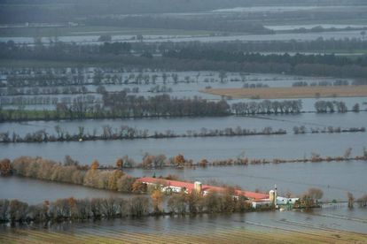 Flooded fields are pictured in Xinzo de Limia following heavy rains over northwestern Spain.