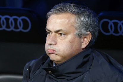 José Mourinho puffs his cheeks on the Real bench Sunday as he watches his side slip up against Espanyol in the Bernabéu.
