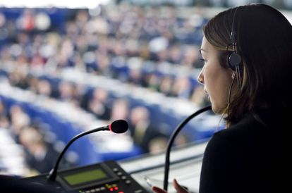 An interpreter at a plenary session of the European Parliament.