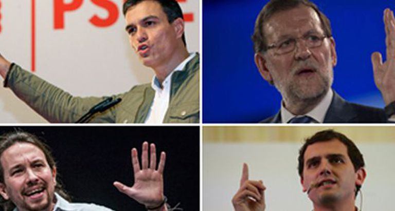 Clockwise from top left: Socialist leader Pedro Sánchez, PP chief Mariano Rajoy, Ciudadanos' Albert Rivera and Podemos's Pablo Iglesias.